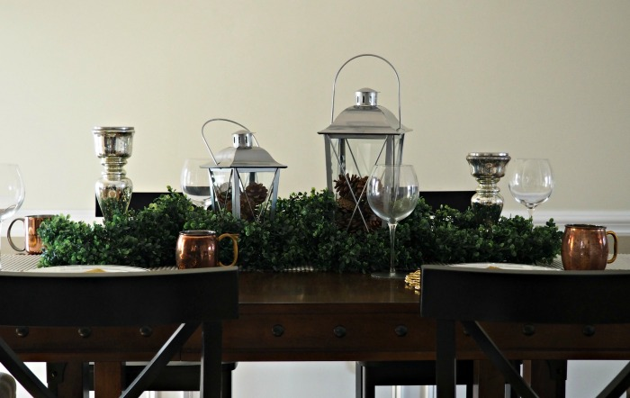 Rustic Glam Christmas Tablescape progress pic