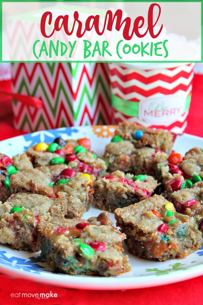 caramel candy bar cookies on holiday platter