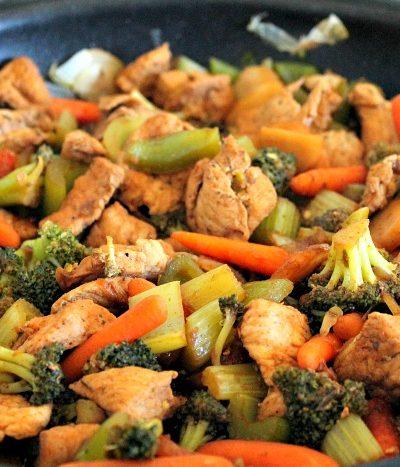 pork stir fry in skillet
