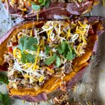 close-up of stuffed sweet potato