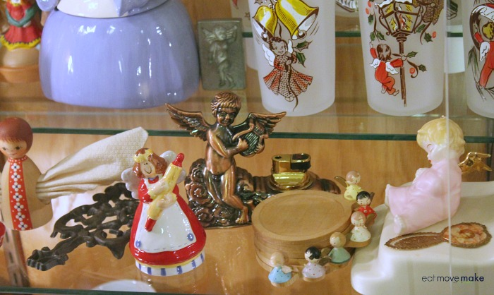 A group of angel figurines on a table