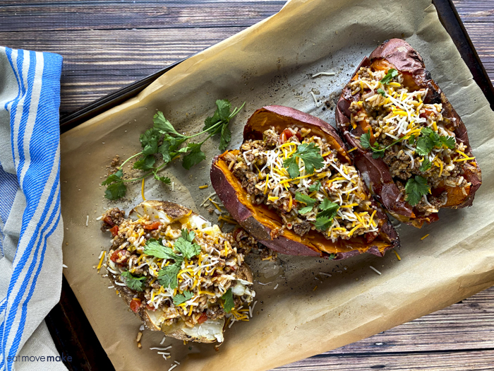 Tex-Mex stuffed potatoes on baking sheet