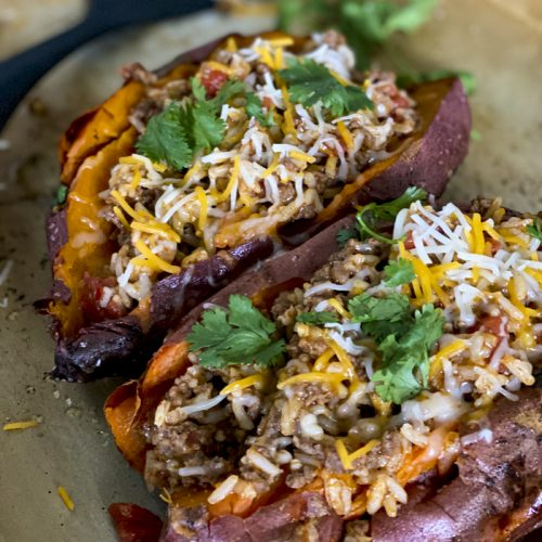 stuffed sweet potatoes on baking_sheet