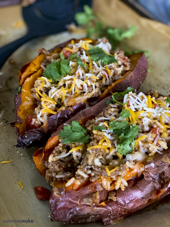 Tex-Mex stuffed sweet potatoes on baking_sheet