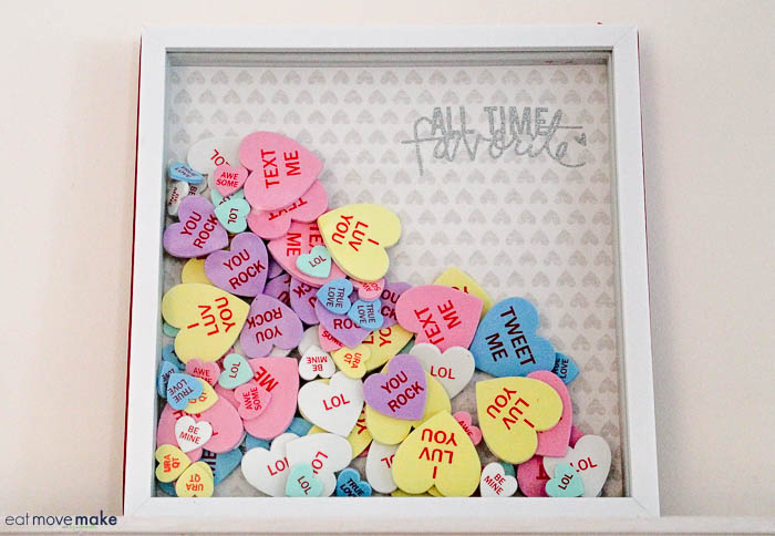 2 in 1 Valentine's Day shadow box craft with conversation hearts