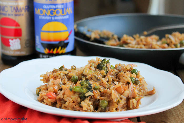 Mongolian crab fried rice on plate