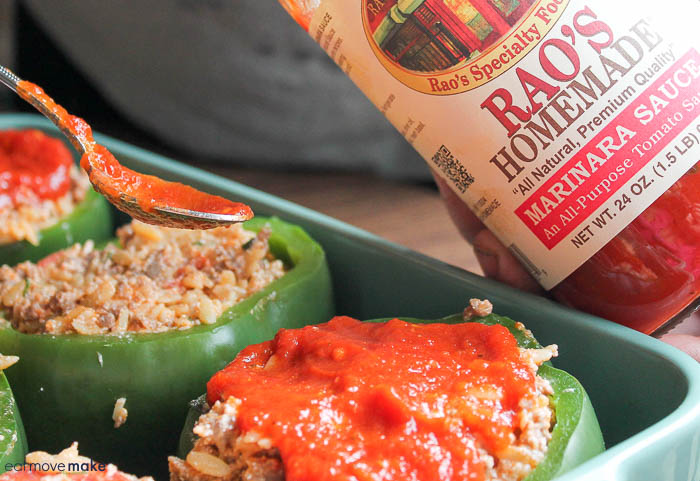 pour marinara sauce over stuffed pepper filling
