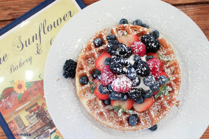 Belgian Waffle with Mixed Fruit - Sunflower Cafe- Galveston TX