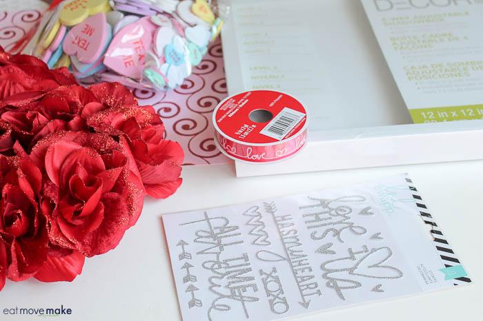 craft supplies to make valentines day shadow box