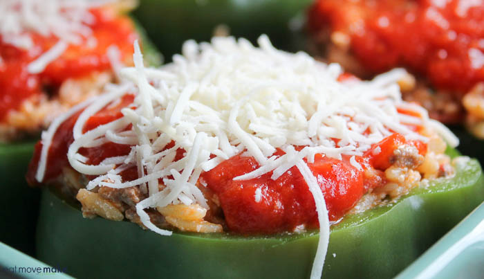 sprinkled cheese on stuffed peppers
