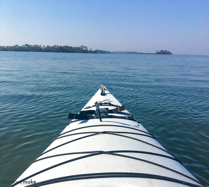 A kayak in the middle of a body of water