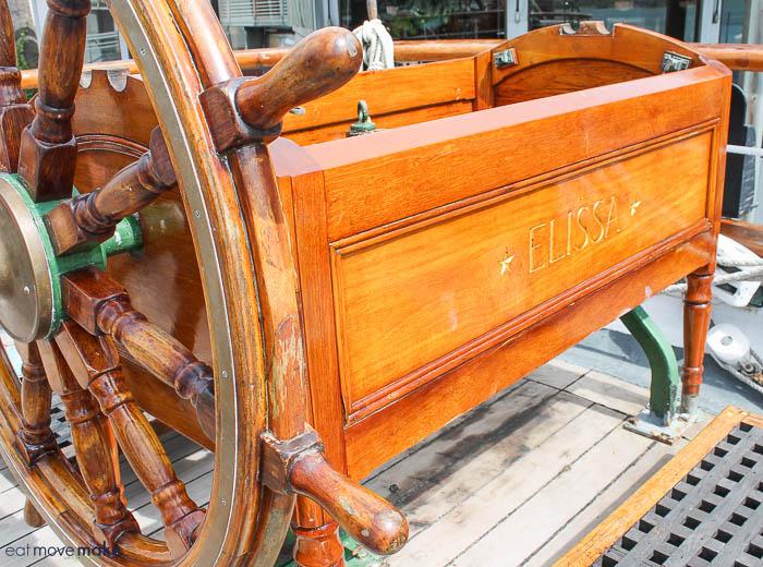 wheel of the tall ship Elissa