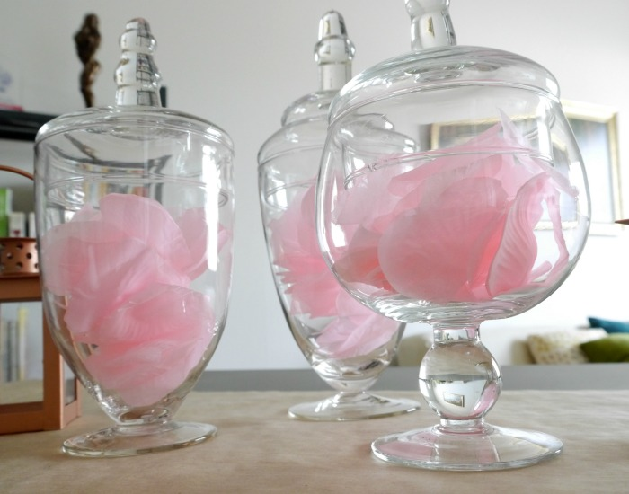 Oriental Trading cloches with rose petals