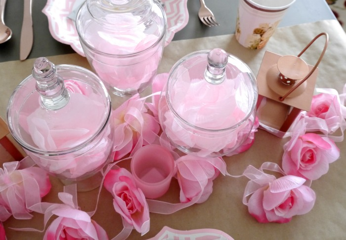 Oriental Trading pink rose garland tablescape