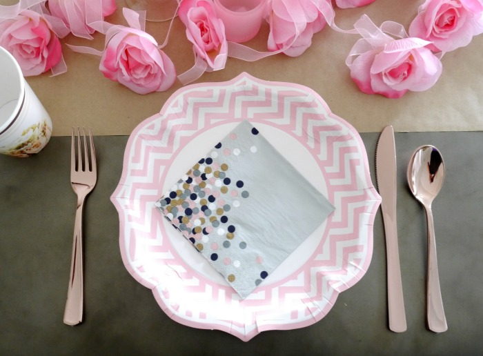 Oriental Trading pink rose gold table setting