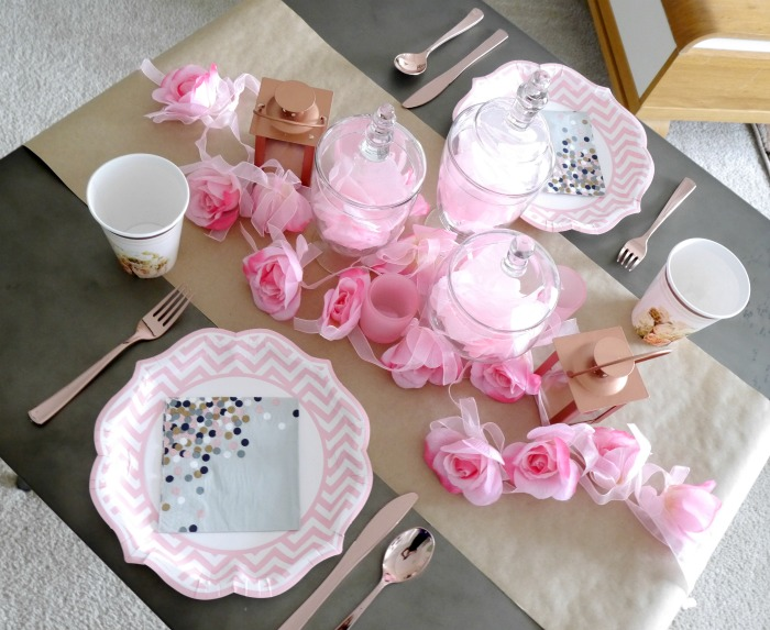 Oriental Trading pink rose gold tablescape