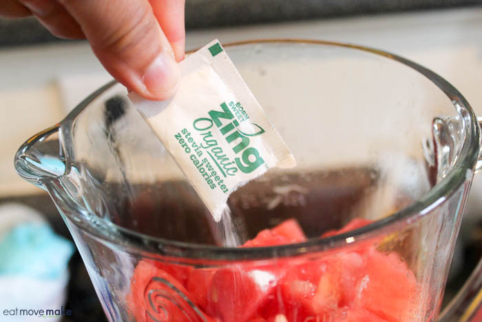 add sweetener to watermelon chunks in blender