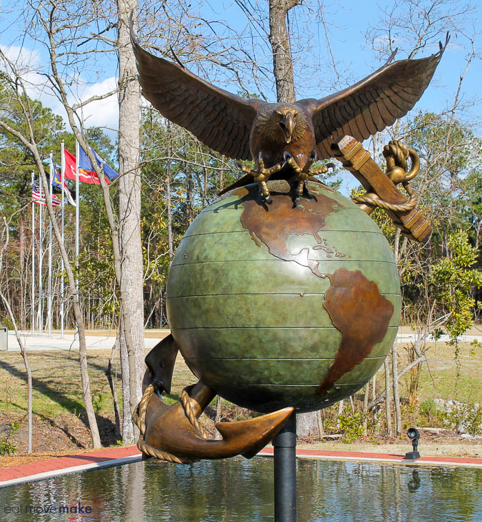Eagle, Globe and Anchor interpretive sculpture - Lejeune Memorial Gardens