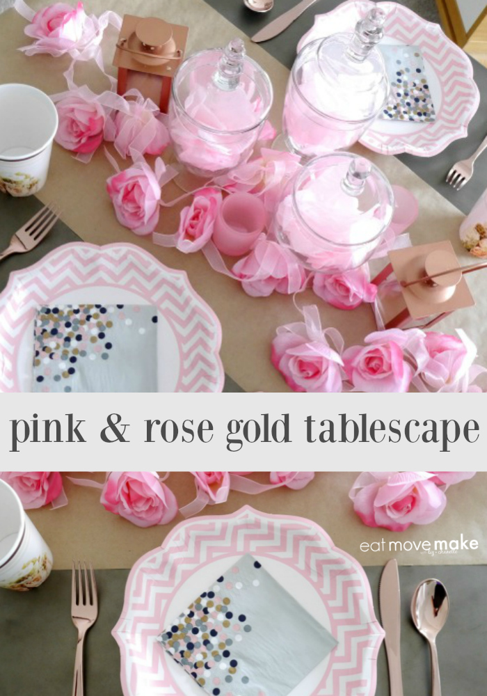 Budget-friendly pink & rose gold tablescape using only items from Oriental Trading Company!