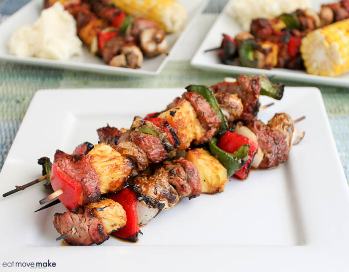grilled pork tenderloin kebabs with apricot ginger glaze on plates