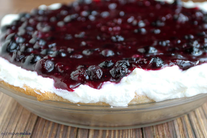 Upside Down Blueberry Whipped Cream Pie - whole pie in dish