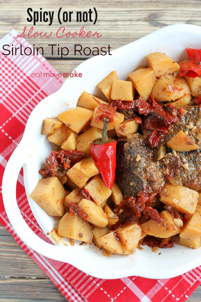 slow cooker with meat and potatoes