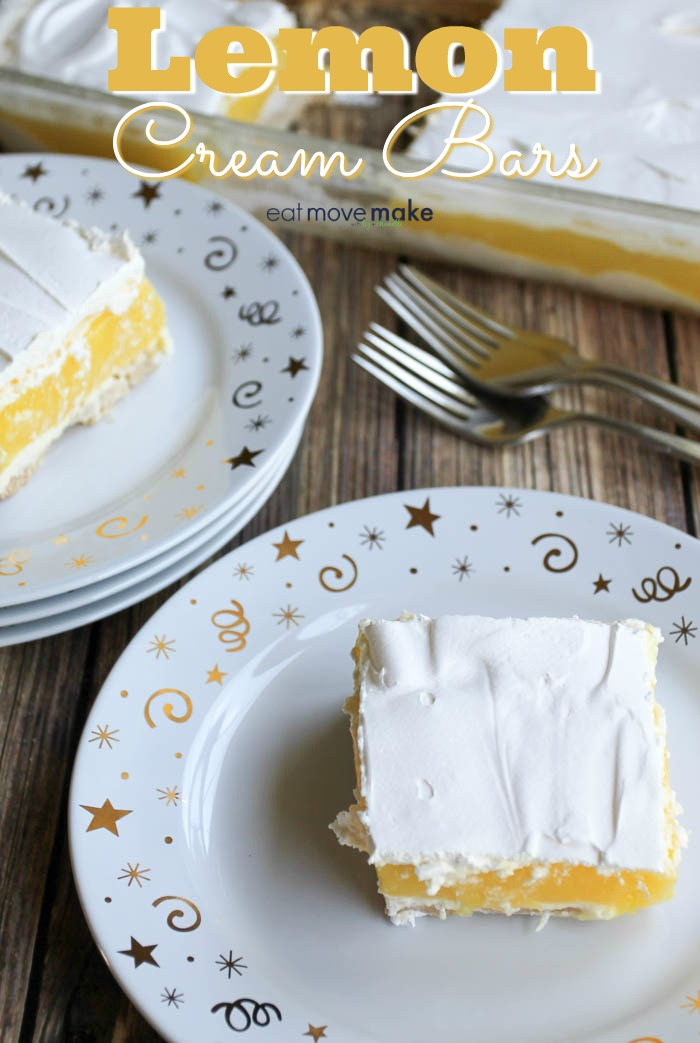 lemon cream bars on dessert plates