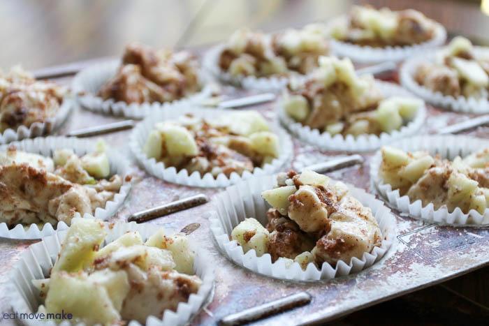 caramel apple cups in muffin tin