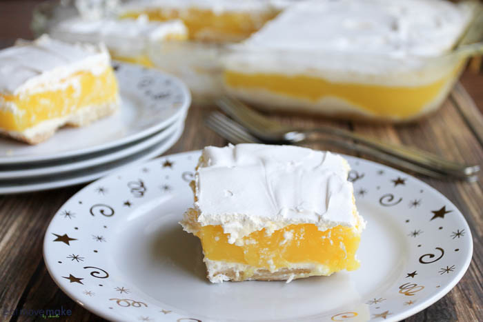 lemon cream bars on plates