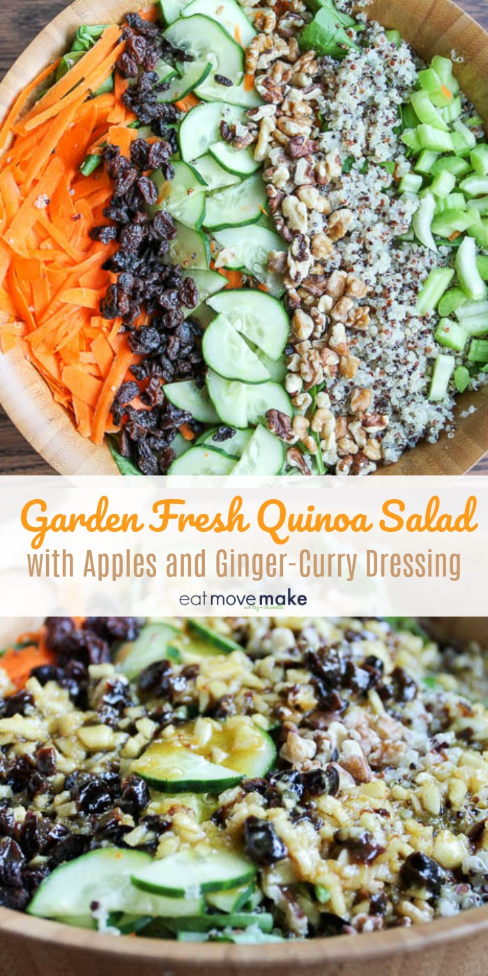 Garden fresh quinoa salad with apples and ginger curry dressing