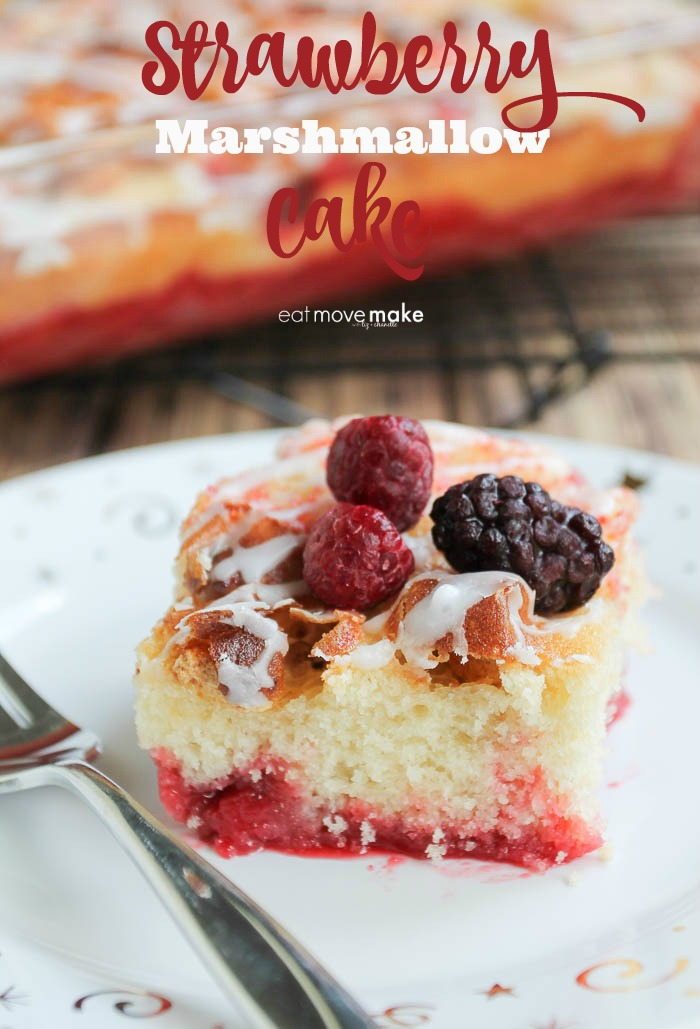 strawberry marshmallow cake on plate with fork