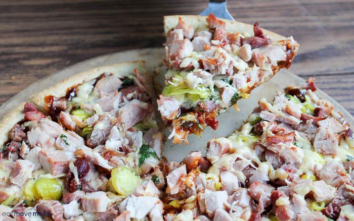 slice of BBQ pheasant pizza