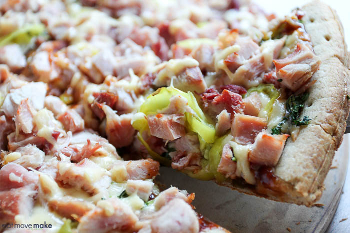BBQ pheasant and gouda pizza slice