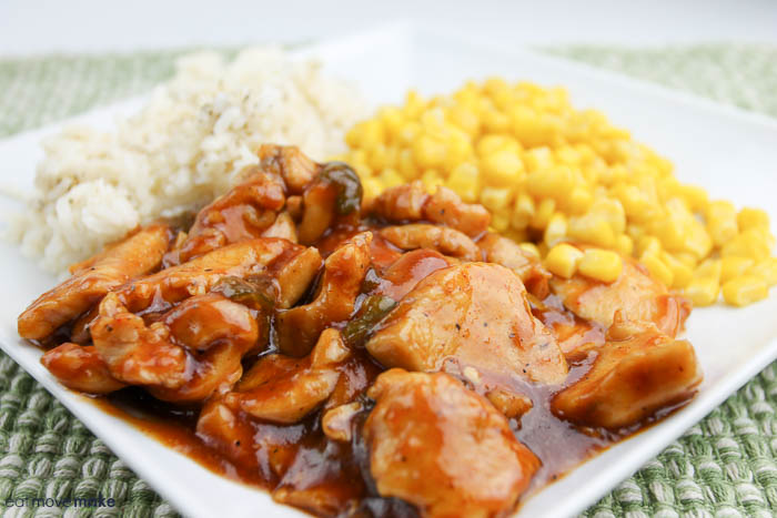 BBQ chicken stir fry with rice and corn