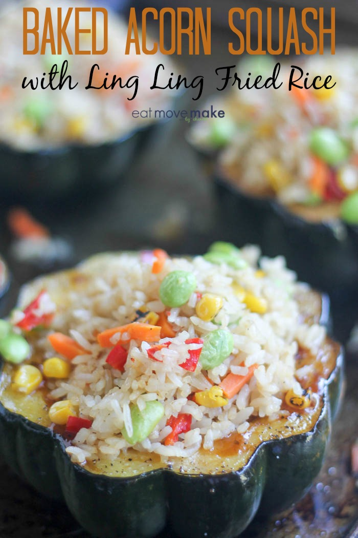 Baked Acorn Squash with Ling Ling Fried Rice