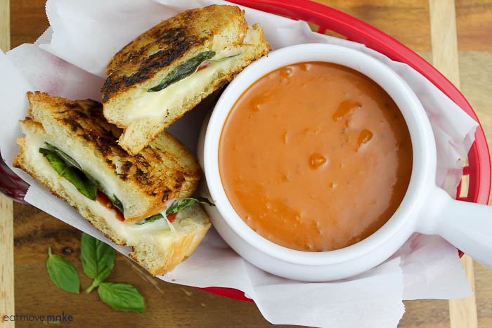 caprese grilled cheese sandwiches and tomato soup
