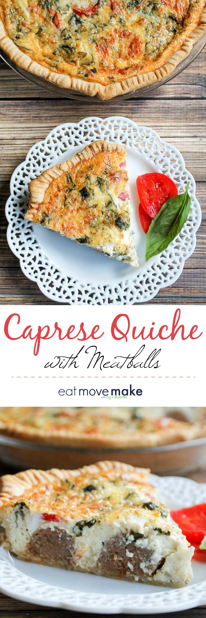 slice of caprese quiche with meatballs on plate