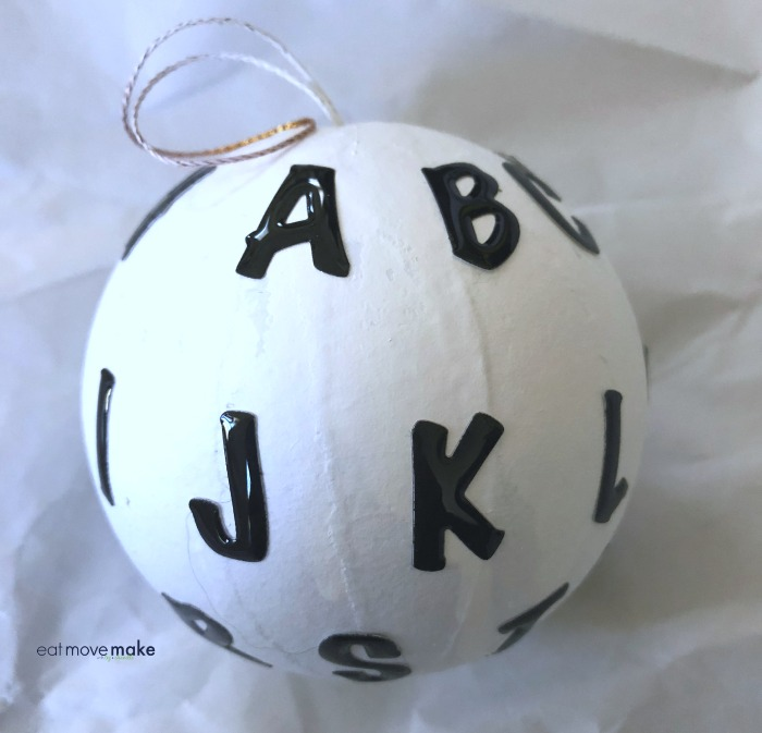 Ornament with letter stickers