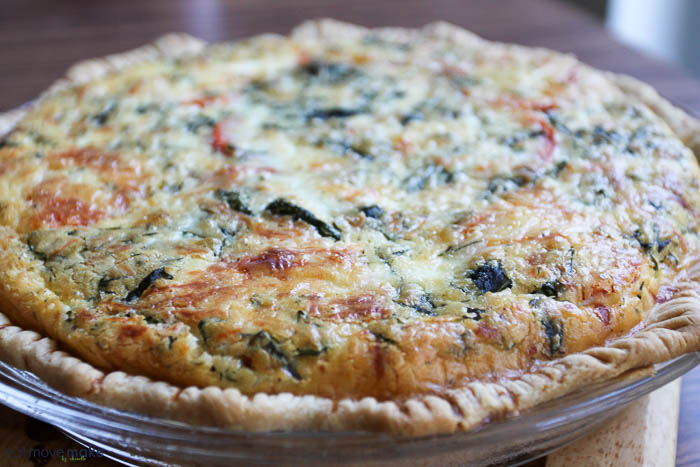 freshly baked caprese quiche with meatballs