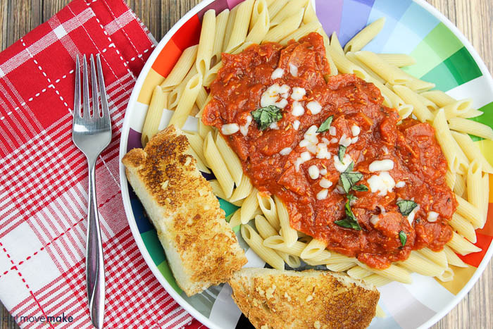 Penne Pasta with Pepperoni-Marinara Sauce and Garlic Bread