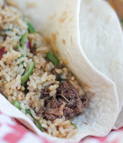 A close up of food, with Beef and Taco