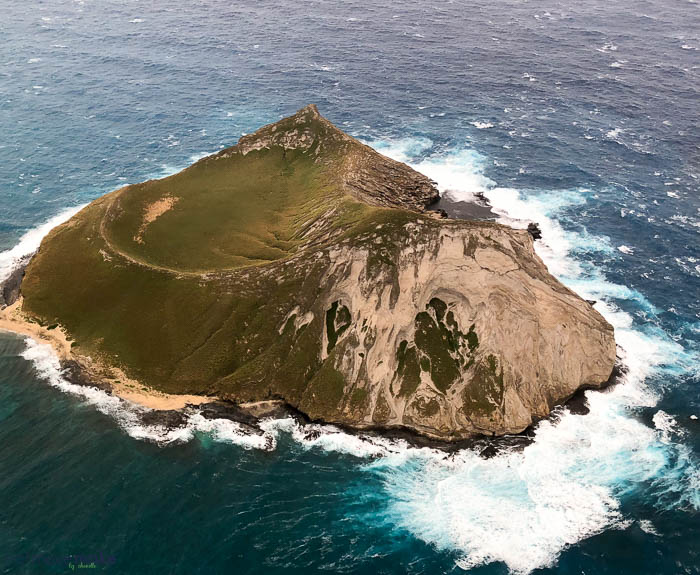 A rocky island in the middle of a body of water