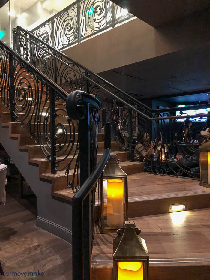 staircase from Sophia\'s to the Iveys Hotel