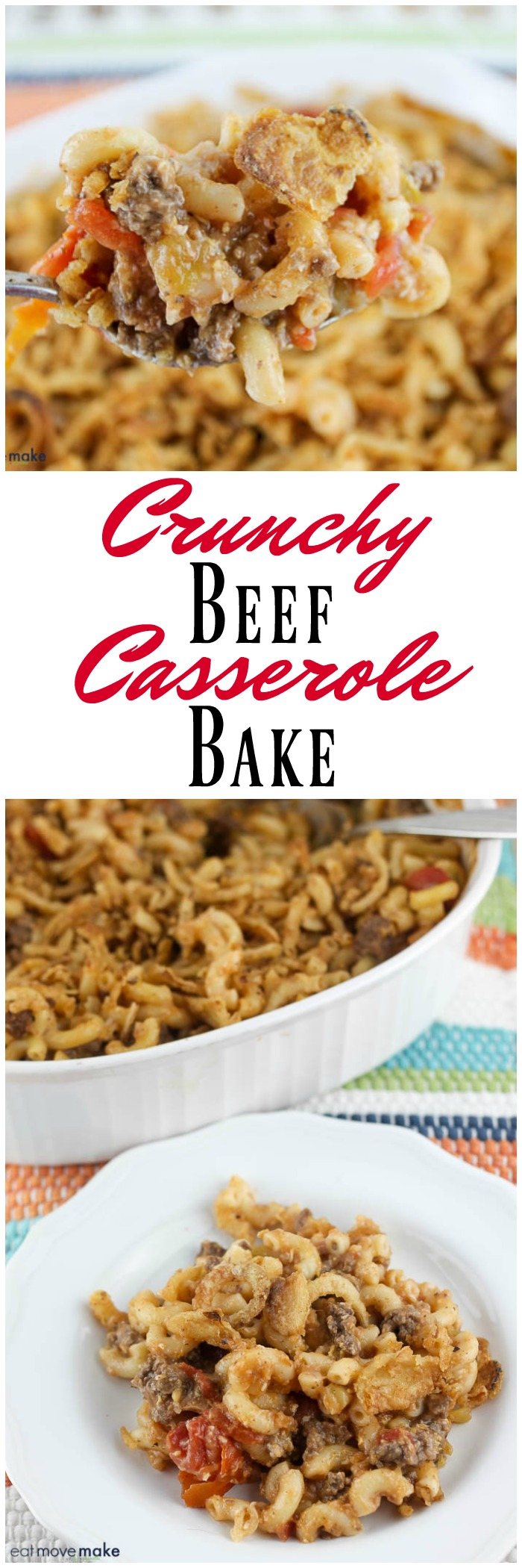 spoonful ground beef casserole with french fried onions