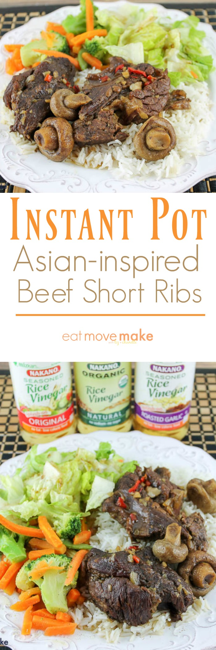 Instant pot Asian-inspired beef short ribs served with rice and salad on plate