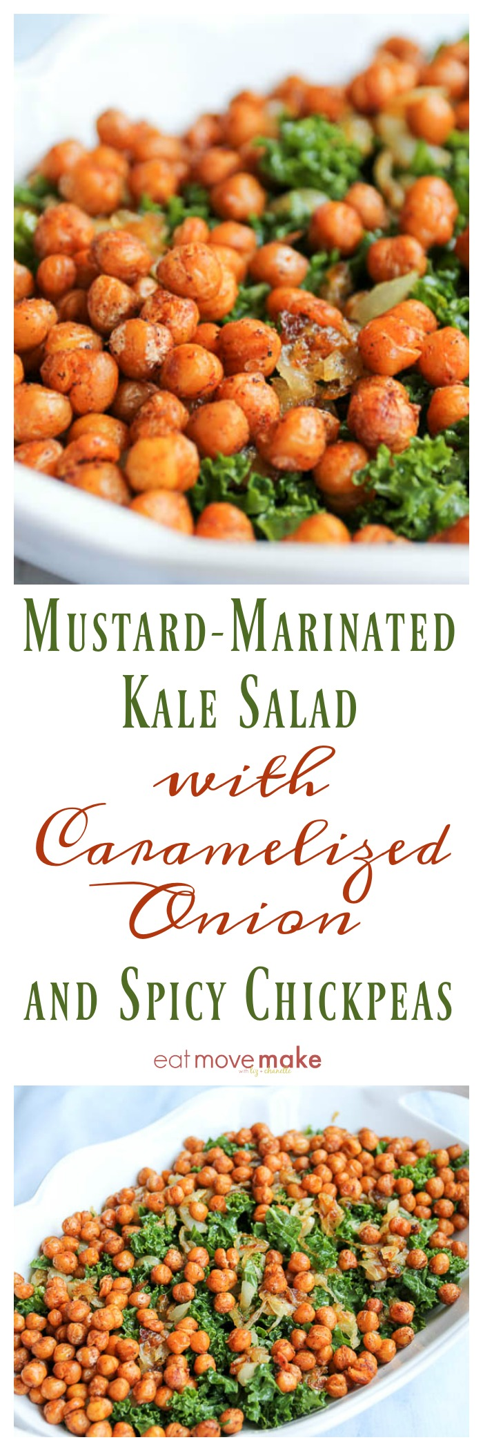 Mustard-Marinated Kale Salad with Caramelized Onion and Spicy Chickpeas photo collage