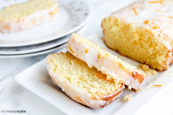 citrus pound cake on tray