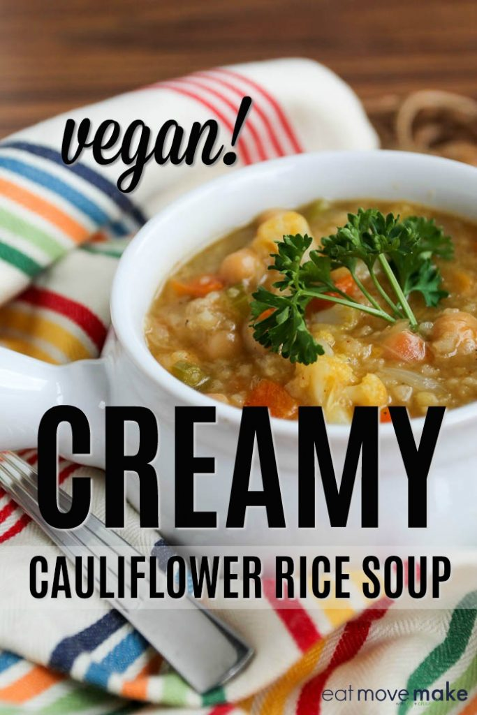 cauliflower rice soup in bowl