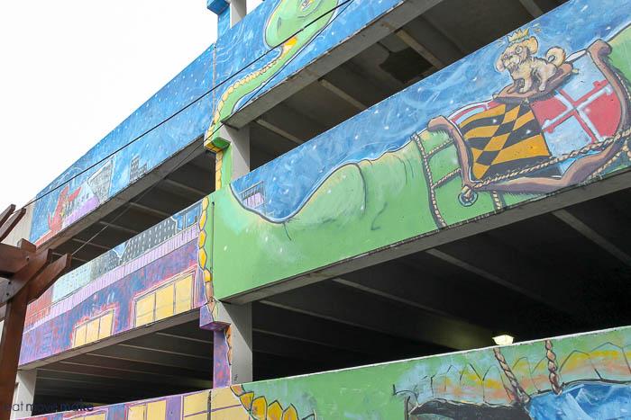parking garage dinosaur mural