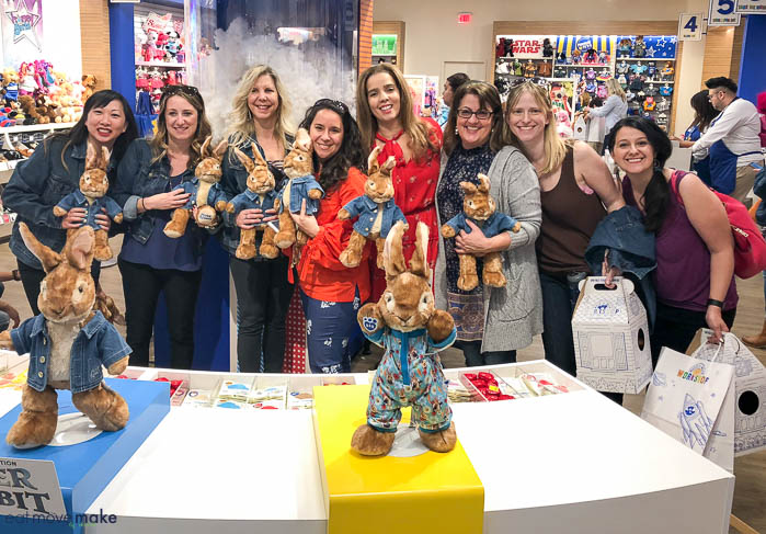 group shot of Peter Rabbits Build a Bear